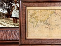 1784 Cook General Chart Hawaii Rattan Frame