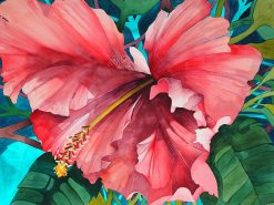 red hibiscus flower painted using watercolors