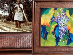 Karin Novak-Neal Autumn Leaves & Grapes Hawaii Rattan Frame