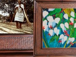 Karin Novak-Neal Bleeding hearts Hawaii Rattan Frame