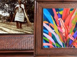 Karin Novak-Neal Colorful Ti Leaves Hawaii Rattan Frame