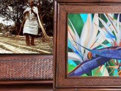 Karin Novak-Neal Double White Birds of Paradise Hawaii Rattan Frame