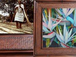 Karin Novak-Neal White Birds Hawaii Rattan Frame