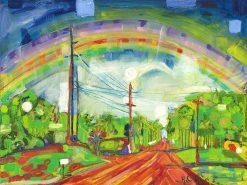 MR Rainbow Road (Driving Kokomo Haiku) 12x16
