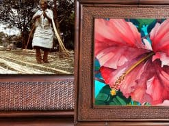 Red Hibiscus Hawaii Rattan Frame Website