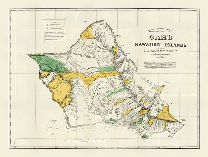 1880 Alexander Usgs Oahu Hawaii Maps Lahaina Printsellers