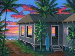 BS Hawaiian Beach Cabin Sunset