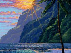 BS Hawaiian Beach Mountain Sunset