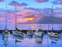 BS Lahaina Harbor Boats At Sunset