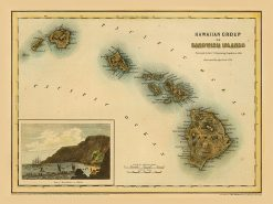 1855 Colton Hawaiian Group (with Kealakekua Inset)