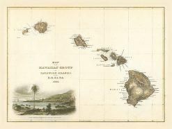 1844 Wilkes Hawaiian Group with Kealakekua Inset