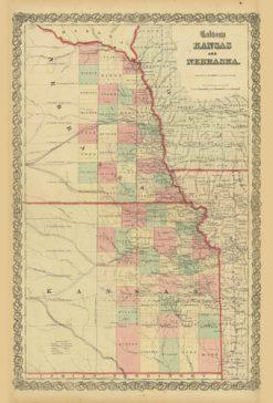 1860 Colton Kansas & Nebraska