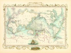 1851 Tallis World (Cook's Voyages) Mercator's Projection