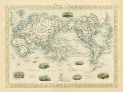 Tallis World Mercator's Projection 1851