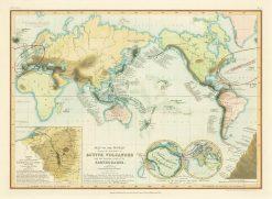 Petermann (Orr & Co) World (Volcanoes) 1853