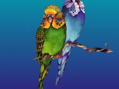 NDV Parakeets on Branch